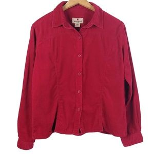 Woolrich ruby red corduroy western style shirt